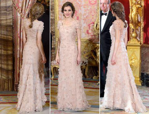 Dress, Formal wear, Gown, One-piece garment, Fashion, Embellishment, Wedding dress, Bridal clothing, Victorian fashion, Haute couture,
