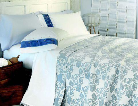 Blue, Room, Interior design, Textile, Bedding, Linens, Bed sheet, Wall, Bed, Bedroom,