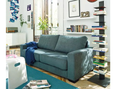Blue, Room, Green, Interior design, Living room, Wall, Home, Furniture, Couch, Interior design,