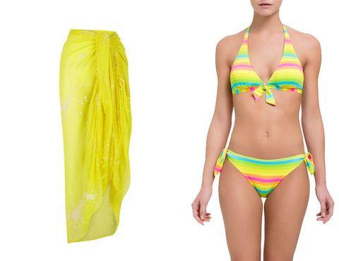 Clothing, Yellow, Skin, Brassiere, Swimwear, Swimsuit top, Swimsuit bottom, Joint, Bikini, Waist,