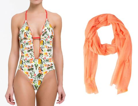 Shoulder, Orange, One-piece swimsuit, Peach, Chest, Muscle, Thigh, Neck, Maillot, Swimwear,