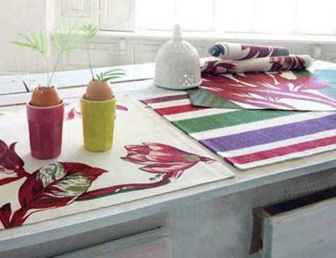 Textile, Linens, Tablecloth, Home accessories, Ceramic, Paint, Coquelicot, Houseplant, Creative arts, Produce,