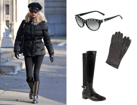 Clothing, Eyewear, Brown, Textile, Outerwear, Boot, Style, Winter, Street fashion, Fashion accessory,