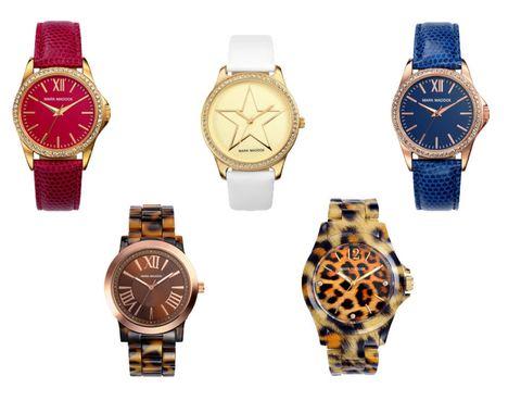 Product, Blue, Brown, Watch, Yellow, Analog watch, Photograph, White, Glass, Fashion accessory,