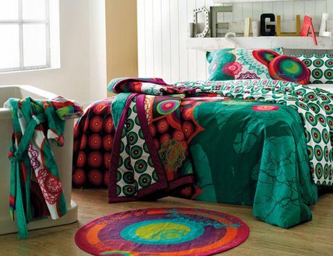 Green, Interior design, Room, Window, Textile, Red, Linens, Interior design, Teal, Cushion,