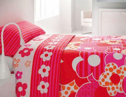 Room, Interior design, Bedding, Textile, Bed, Red, Bed sheet, Linens, Pink, Floor,