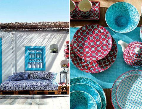 Blue, Serveware, Dishware, Textile, Teal, Turquoise, Pattern, Purple, Aqua, Couch,