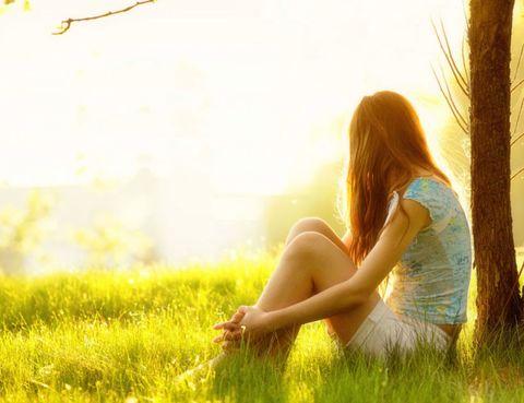 Grass, Mammal, People in nature, Sunlight, Sitting, Summer, Beauty, Backlighting, Long hair, Morning,