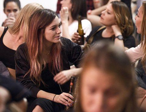 Hair, Face, Head, Nose, People, Eye, Crowd, Audience, Drink, Long hair,