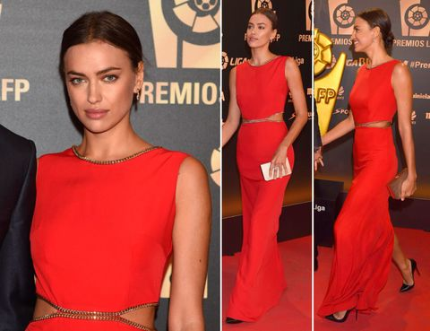 Dress, Shoulder, Red, Style, Eyelash, Logo, Beauty, Waist, Fashion, Fashion model,