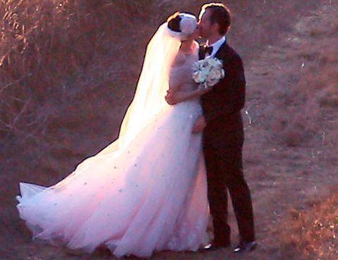 Clothing, Coat, Bridal clothing, Dress, Photograph, Bride, Outerwear, Suit, Wedding dress, Happy,