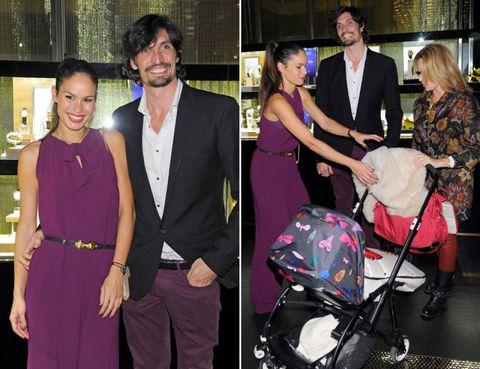 Trousers, Coat, Shirt, Baby carriage, Suit, Formal wear, Dress, Suit trousers, Purple, Tie,