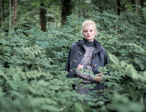 Winter, Mammal, People in nature, Forest, Terrestrial plant, Street fashion, Old-growth forest, Woodland, Blond, Jungle,