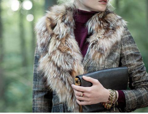 Sleeve, Textile, Outerwear, Pattern, Street fashion, Fur clothing, Jacket, Natural material, Fashion, Bracelet,