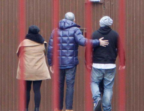Jacket, Trousers, Jeans, Standing, Textile, Coat, Outerwear, Denim, Winter, Back,