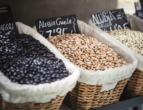 Food, Ingredient, Produce, Seed, Basket, Home accessories, Wicker, Food grain, Nuts & seeds, Storage basket,