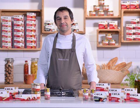 Countertop, Shelf, Cook, Retail, Shopkeeper, Service, Food storage, Kitchen, Food group, Moustache,
