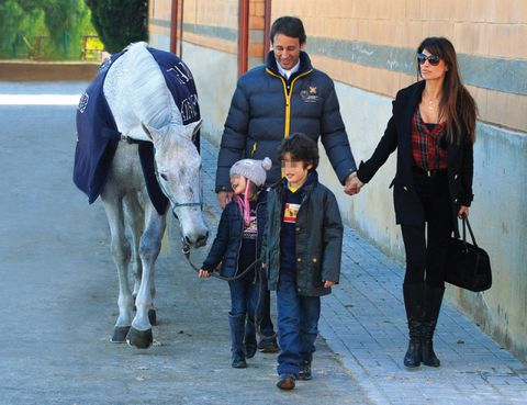 Trousers, Bag, Horse supplies, Bridle, Horse, Working animal, Halter, Jacket, Sunglasses, Horse tack,