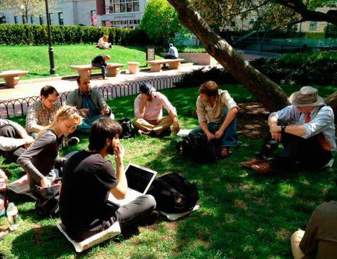Leg, Human, Grass, Sitting, Sharing, Garden, Lawn, Lap, Outdoor furniture, Groundcover,