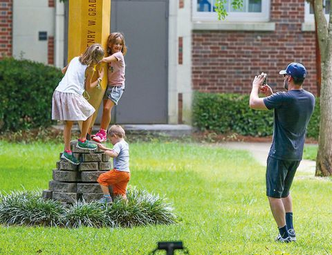 Grass, Child, Garden, People in nature, Cap, Lawn, Play, Grass family, Toddler, Yard,