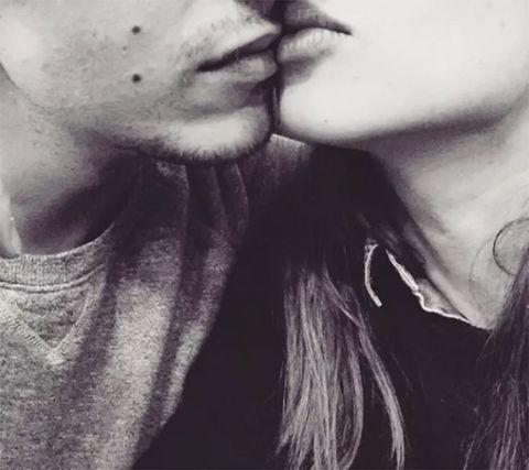 Lip, Cheek, Facial hair, Style, Jaw, Interaction, Neck, Black, Monochrome photography, Love,