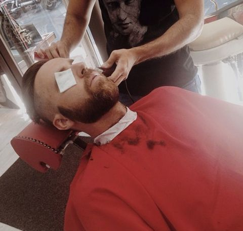 Ear, Shoulder, Facial hair, Temple, Wrist, Muscle, Service, Beard, Hearing, Beauty salon,