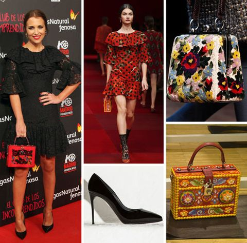 Footwear, Sleeve, Dress, Red, Pattern, Style, Bag, Fashion accessory, Beauty, Fashion,