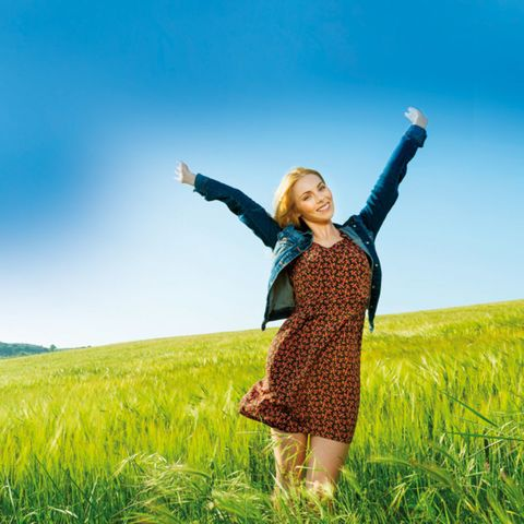 Grass, Hand, Happy, Rejoicing, Field, Mammal, People in nature, Grassland, Agriculture, Plain,