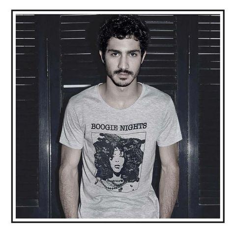 Sleeve, Forehead, Standing, T-shirt, Style, Facial hair, Beard, Jaw, Street fashion, Cool,