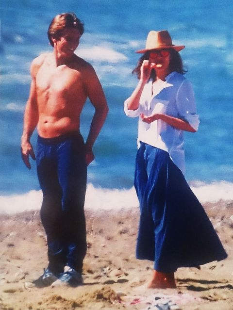 Blue, Hat, People on beach, Standing, Waist, People in nature, Summer, Sun hat, Vacation, Barechested,