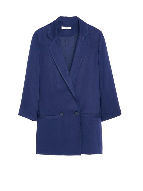 Clothing, Blue, Collar, Sleeve, Coat, Textile, Outerwear, Electric blue, Blazer, Fashion,