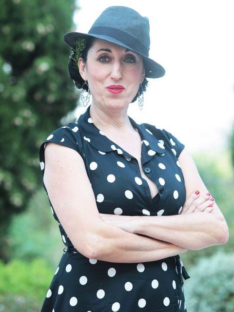 Polka dot, Clothing, Pattern, Blue, Design, Hat, Retro style, Lip, Headgear, Dress,
