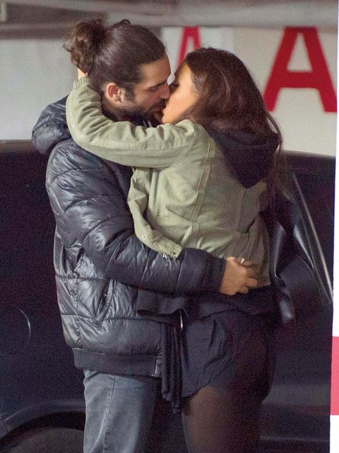 Hair, Jacket, Romance, Interaction, Love, Kiss, Leather jacket, Hug, Leather, Gesture,