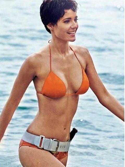 Clothing, Fun, Hairstyle, Skin, Brassiere, Shoulder, Swimwear, Bikini, Chest, Photograph,