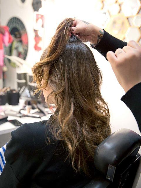 Hairstyle, Wrist, Long hair, Brown hair, Hair coloring, Blond, Bracelet, Nail, Makeover, Layered hair,