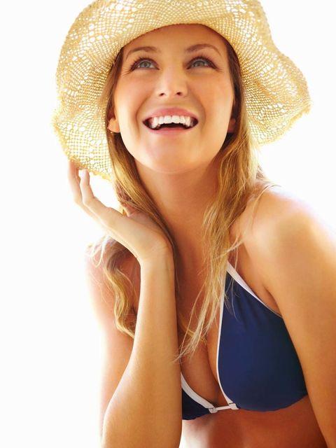 Clothing, Hat, Lip, Skin, Facial expression, Sun hat, Fashion accessory, Jaw, Brassiere, Headgear,