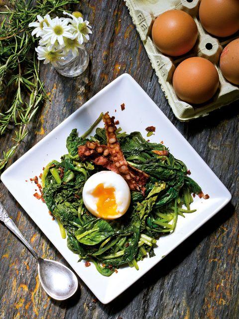Food, Ingredient, Leaf vegetable, Egg, Dish, Serveware, Breakfast, Vegetable, Produce, Egg yolk,