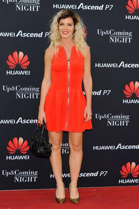 Clothing, Dress, Red, Orange, Flooring, Style, Formal wear, One-piece garment, Cocktail dress, Logo,