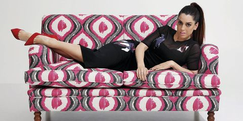 Human body, Comfort, Red, Couch, Pink, Furniture, Living room, Sitting, Beauty, Magenta,