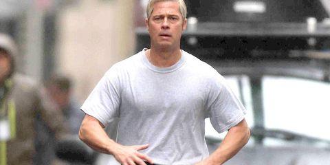 Elbow, T-shirt, Wrist, Muscle, Chest, Active shirt,