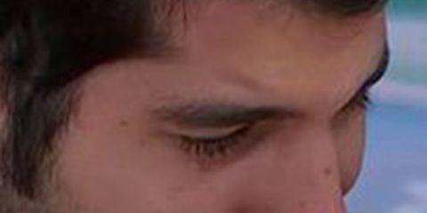 Finger, Lip, Cheek, Hairstyle, Skin, Chin, Facial hair, Forehead, Eyebrow, Eyelash,