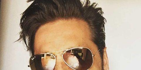 Eyewear, Glasses, Facial hair, Vision care, Cheek, Mouth, Goggles, Hairstyle, Chin, Forehead,