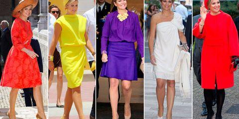 Clothing, Leg, Dress, Hat, Yellow, Red, Style, Fashion accessory, Formal wear, Headgear,