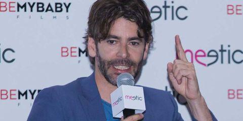 Finger, Microphone, Chin, Facial hair, Moustache, Beard, Thumb, Wrist, White-collar worker, Electric blue,