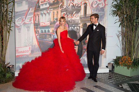 Dress, Coat, Red, Outerwear, Suit, Formal wear, Flowerpot, Fashion, Gown, Bridal party dress,
