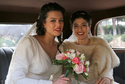 Skin, Petal, Shoulder, Photograph, Flower, Happy, Facial expression, Bouquet, Beauty, Bridal clothing,