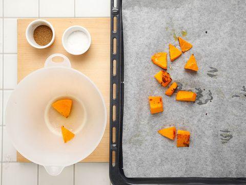 Food, Ingredient, Orange, Carrot, Flour, Recipe, Chemical compound, Powder, Kitchen utensil, Meal,