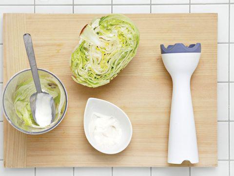 Dishware, Ingredient, Food, Tableware, Kitchen utensil, Leaf vegetable, Serveware, Cutting board, Produce, Plate,