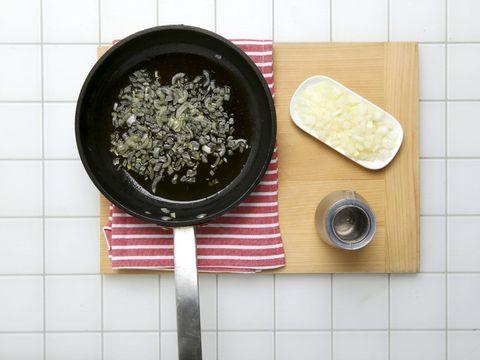 Food, Cookware and bakeware, Frying pan, Kitchen utensil, Recipe, Bowl, Cuisine, Sauté pan, Cooking, Tile,