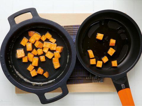 Food, Orange, Cuisine, Amber, Ingredient, Cookware and bakeware, Dish, Recipe, Frying pan, Meal,